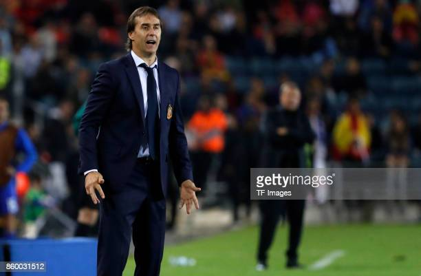 Head coach Julen Lopetegui of Spain looks on during the 2018 FIFA World Cup European Group G qualifying football match between Israel and Spain at...