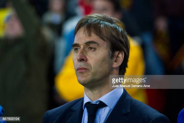 Head coach Julen Lopetegui of Spain looks on prior to the FIFA 2018 World Cup Qualifier between Spain and Israel at Estadio El Molinon on March 24...