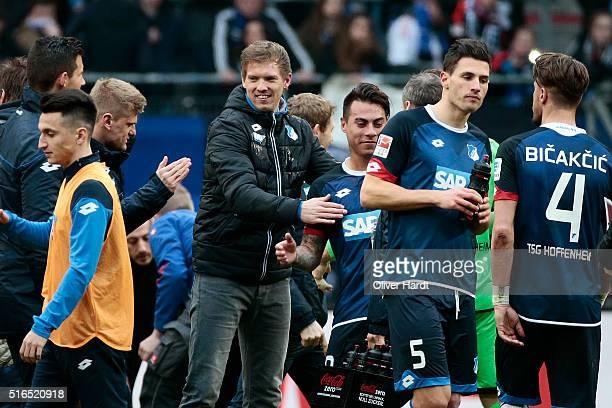 Head coach Julian Nagelsmann of Hoffenheim celebrate after the Bundesliga match between Hamburger SV and 1899 Hoffenheim at Volksparkstadion on March...
