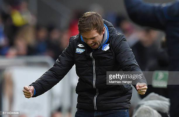 Head coach Julian Nagelsmann of Hoffenheim celebrates after his team's first goal during the Bundesliga match between 1899 Hoffenheim and 1 FSV Mainz...