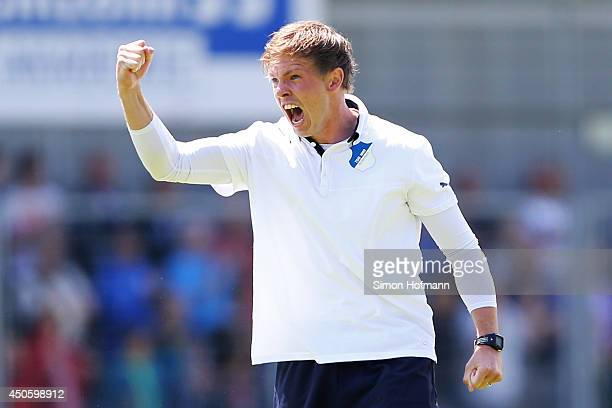 Head coach Julian Nagelsmann of Hoffenheim celebrates after the A Juniors Bundesliga Semi Final between 1899 Hoffenheim and FC Schalke 04 at Dietmar...