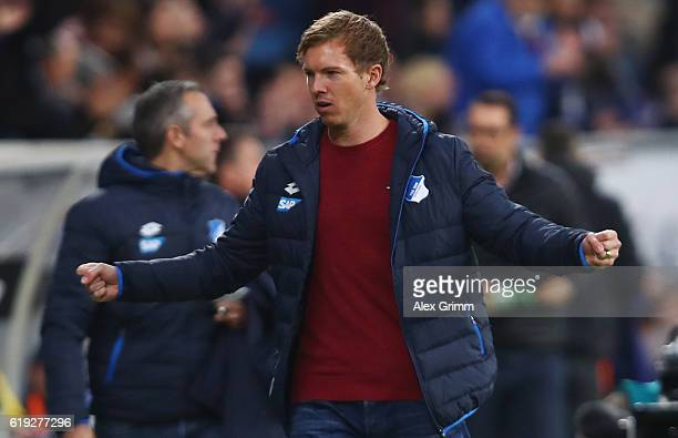 Head coach Julian Nagelsmann of Hoffenheim celebrates after the Bundesliga match between TSG 1899 Hoffenheim and Hertha BSC at Wirsol...