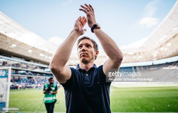 Head coach Julian Nagelsmann of Hoffenheim celebrates during the Bundesliga match between TSG 1899 Hoffenheim and FC Augsburg at Wirsol...