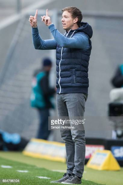 Head coach Julian Nagelsmann of Hoffenheim geatures during the Bundesliga match between TSG 1899 Hoffenheim and Bayer 04 Leverkusen at Wirsol...