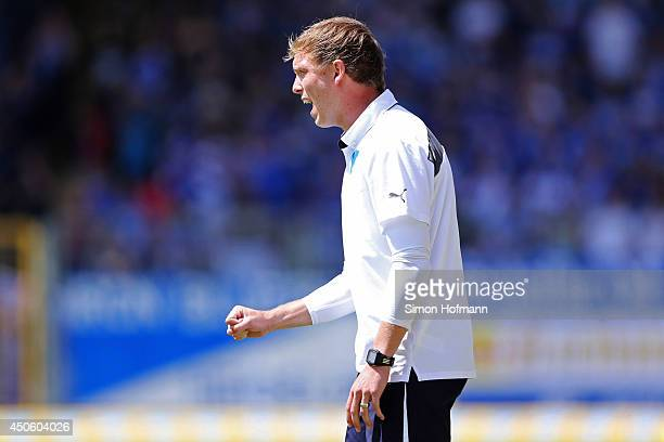 Head coach Julian Nagelsmann of Hoffenheim gestures during the A Juniors Bundesliga Semi Final between 1899 Hoffenheim and FC Schalke 04 at Dietmar...