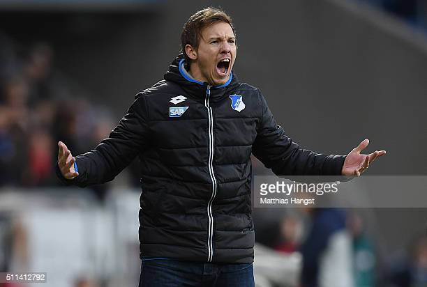 Head coach Julian Nagelsmann of Hoffenheim gestures during the Bundesliga match between 1899 Hoffenheim and 1 FSV Mainz 05 at Wirsol RheinNeckarArena...
