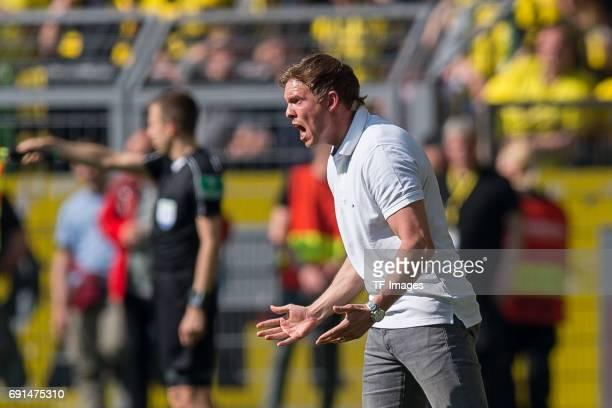 21 Head coach Julian Nagelsmann of Hoffenheim gestures during the Bundesliga match between Borussia Dortmund and TSG 1899 Hoffenheim at Signal Iduna...