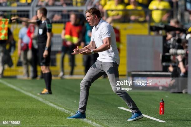 Head coach Julian Nagelsmann of Hoffenheim gestures during the Bundesliga match between Borussia Dortmund and TSG 1899 Hoffenheim at Signal Iduna...