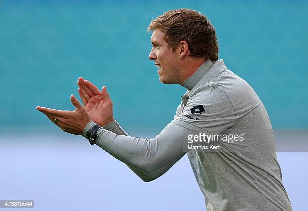 Head coach Julian Nagelsmann of Hoffenheim gestures during the U19 A Juniors Bundesliga semi final match between RB Leipzig and TSG 1899 Hoffenheim...