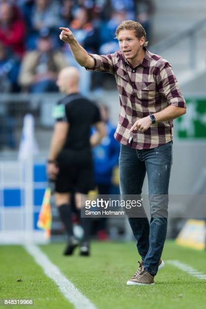 Head coach Julian Nagelsmann of Hoffenheim gives directions during the Bundesliga match between TSG 1899 Hoffenheim and Hertha BSC at Wirsol...