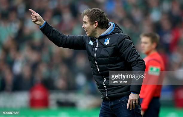 Head coach Julian Nagelsmann of Hoffenheim gives instructions during the Bundesliga match between Werder Bremen and 1899 Hoffenheim at Weserstadion...