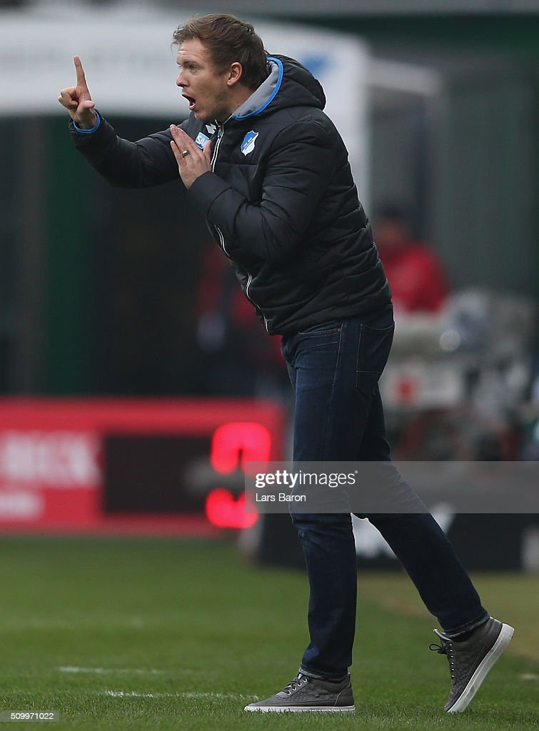 Head coach <a gi-track='captionPersonalityLinkClicked' href=/galleries/search?phrase=Julian+Nagelsmann&family=editorial&specificpeople=12889193 ng-click='$event.stopPropagation()'>Julian Nagelsmann</a> of Hoffenheim gives instructions during the Bundesliga match between Werder Bremen and 1899 Hoffenheim at Weserstadion on February 13, 2016 in Bremen, Germany.