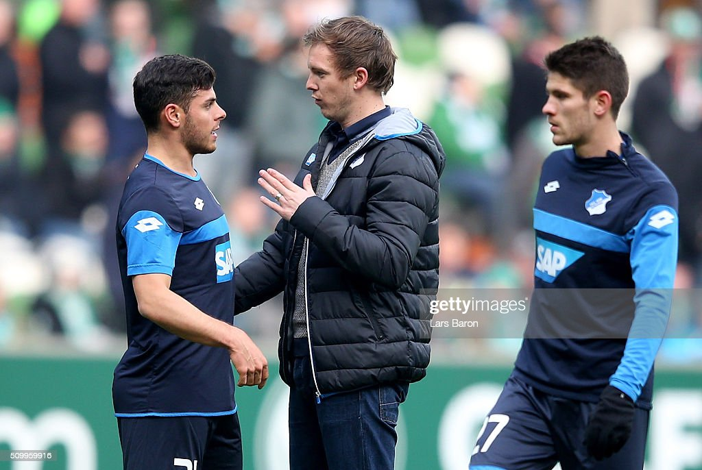 Head coach <a gi-track='captionPersonalityLinkClicked' href=/galleries/search?phrase=Julian+Nagelsmann&family=editorial&specificpeople=12889193 ng-click='$event.stopPropagation()'>Julian Nagelsmann</a> of Hoffenheim gives instructions to <a gi-track='captionPersonalityLinkClicked' href=/galleries/search?phrase=Kevin+Volland&family=editorial&specificpeople=6001755 ng-click='$event.stopPropagation()'>Kevin Volland</a> prior to the Bundesliga match between Werder Bremen and 1899 Hoffenheim at Weserstadion on February 13, 2016 in Bremen, Germany.