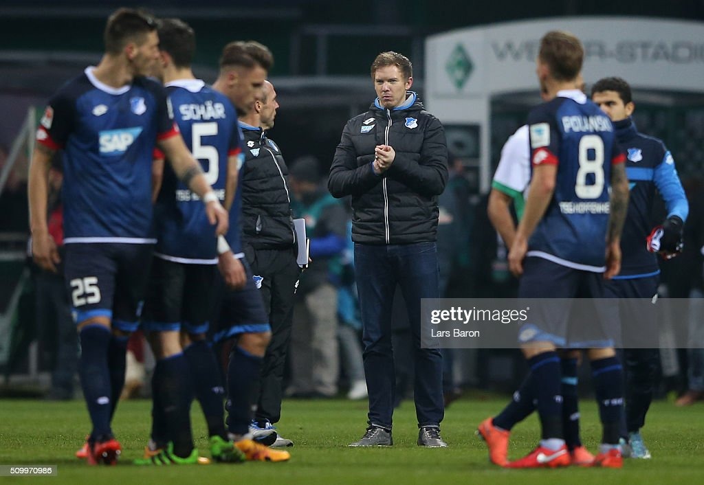 Head coach <a gi-track='captionPersonalityLinkClicked' href=/galleries/search?phrase=Julian+Nagelsmann&family=editorial&specificpeople=12889193 ng-click='$event.stopPropagation()'>Julian Nagelsmann</a> of Hoffenheim is seen after the Bundesliga match between Werder Bremen and 1899 Hoffenheim at Weserstadion on February 13, 2016 in Bremen, Germany.