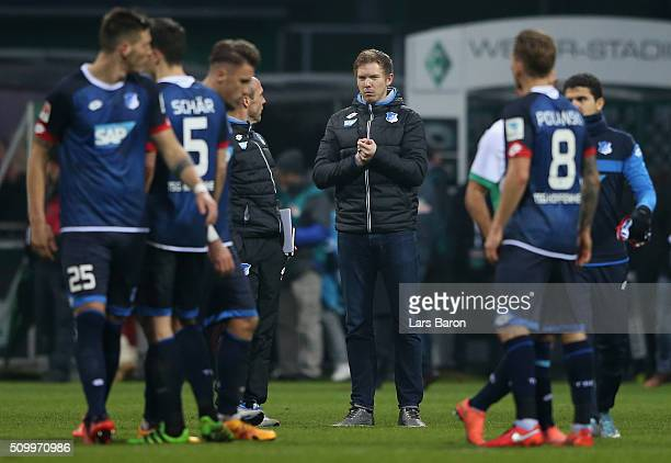 Head coach Julian Nagelsmann of Hoffenheim is seen after the Bundesliga match between Werder Bremen and 1899 Hoffenheim at Weserstadion on February...