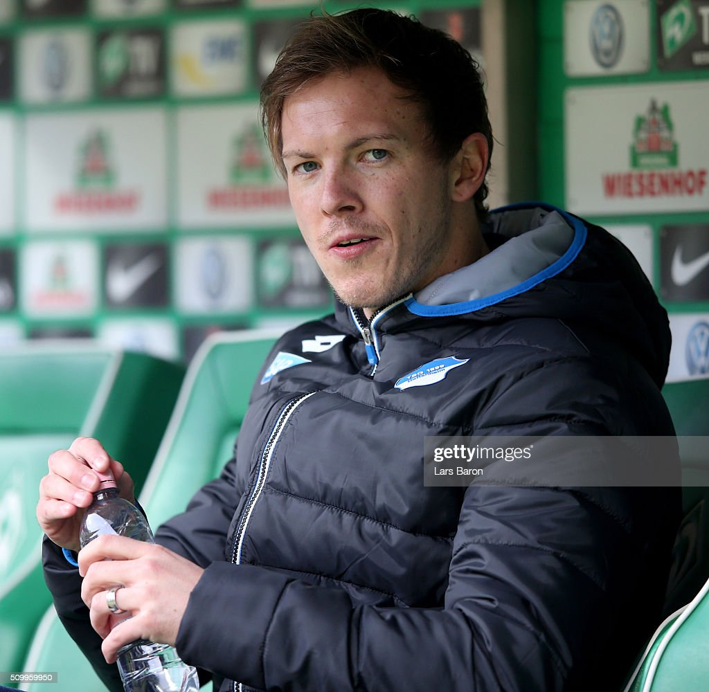Head coach <a gi-track='captionPersonalityLinkClicked' href=/galleries/search?phrase=Julian+Nagelsmann&family=editorial&specificpeople=12889193 ng-click='$event.stopPropagation()'>Julian Nagelsmann</a> of Hoffenheim is seen prior to the Bundesliga match between Werder Bremen and 1899 Hoffenheim at Weserstadion on February 13, 2016 in Bremen, Germany.