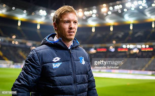 Head coach Julian Nagelsmann of Hoffenheim is seen prior to the Bundesliga match between Eintracht Frankfurt and TSG 1899 Hoffenheim at...