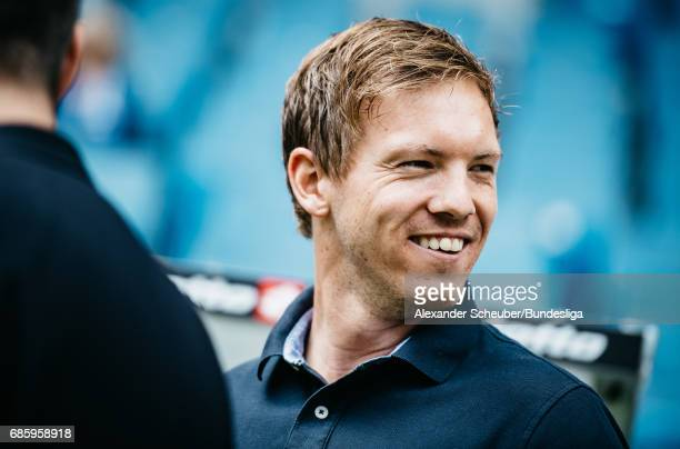 Head coach Julian Nagelsmann of Hoffenheim is seen prior to the Bundesliga match between TSG 1899 Hoffenheim and FC Augsburg at Wirsol...