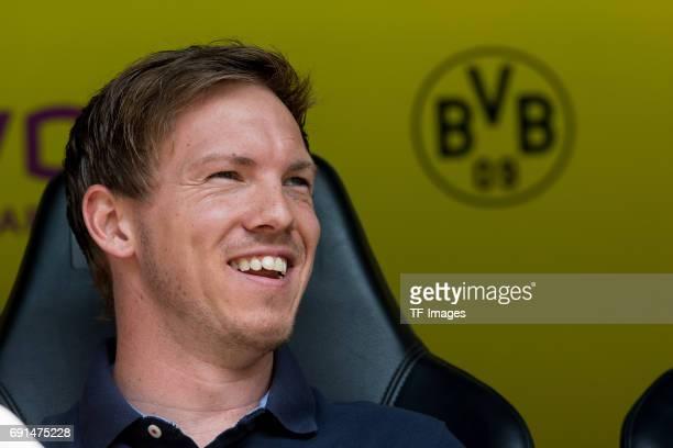 Head coach Julian Nagelsmann of Hoffenheim laughs during the Bundesliga match between Borussia Dortmund and TSG 1899 Hoffenheim at Signal Iduna Park...