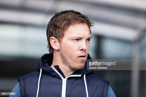 Head coach Julian Nagelsmann of Hoffenheim looks on during the Bundesliga match between TSG 1899 Hoffenheim and Bayer 04 Leverkusen at Wirsol...