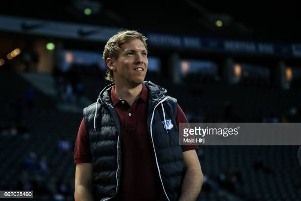 Head coach Julian Nagelsmann of Hoffenheim looks on prior the Bundesliga match between Hertha BSC and TSG 1899 Hoffenheim at Olympiastadion on March...