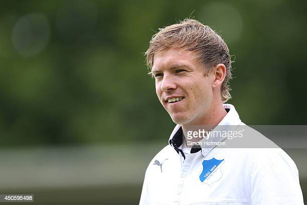 Head coach Julian Nagelsmann of Hoffenheim looks on prior to the A Juniors Bundesliga Semi Final between 1899 Hoffenheim and FC Schalke 04 at Dietmar...