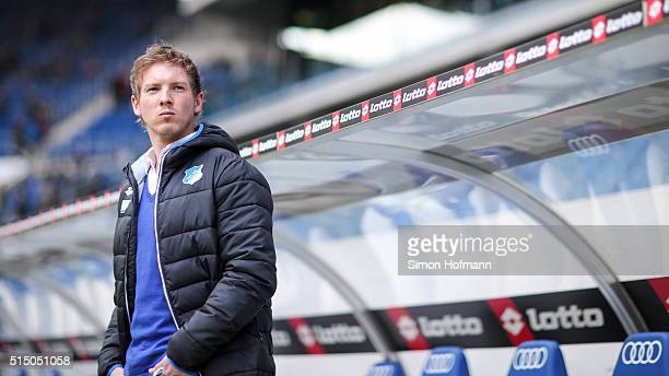 Head coach Julian Nagelsmann of Hoffenheim looks on prior to the Bundesliga match between 1899 Hoffenheim and VfL Wolfsburg at Wirsol...