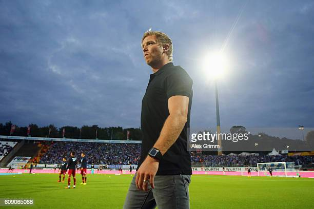 Head coach Julian Nagelsmann of Hoffenheim looks on prior to the Bundesliga match between SV Darmstadt 98 and TSG 1899 Hoffenheim at...