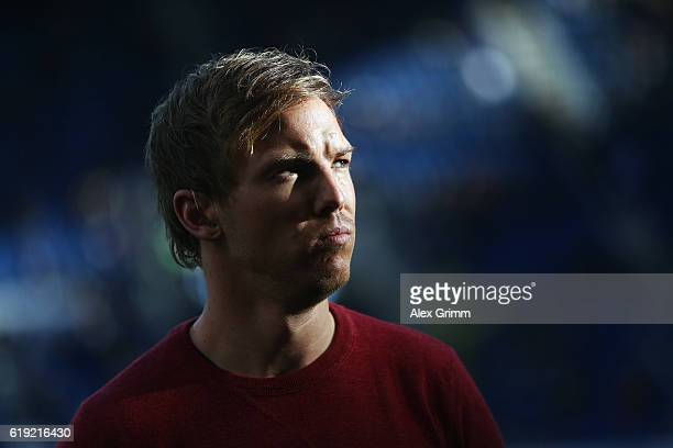 Head coach Julian Nagelsmann of Hoffenheim looks on prior to the Bundesliga match between TSG 1899 Hoffenheim and Hertha BSC at Wirsol...