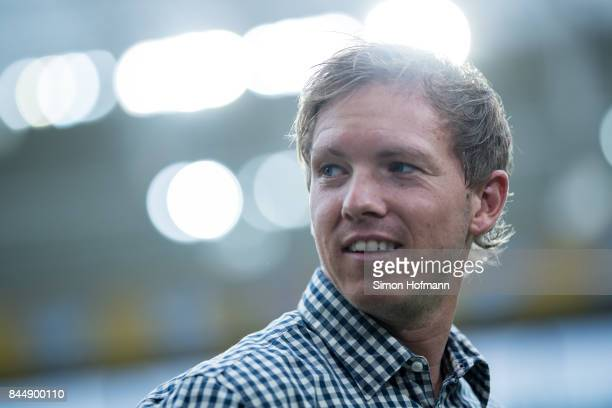 Head coach Julian Nagelsmann of Hoffenheim looks on prior to the Bundesliga match between TSG 1899 Hoffenheim and FC Bayern Muenchen at Wirsol...