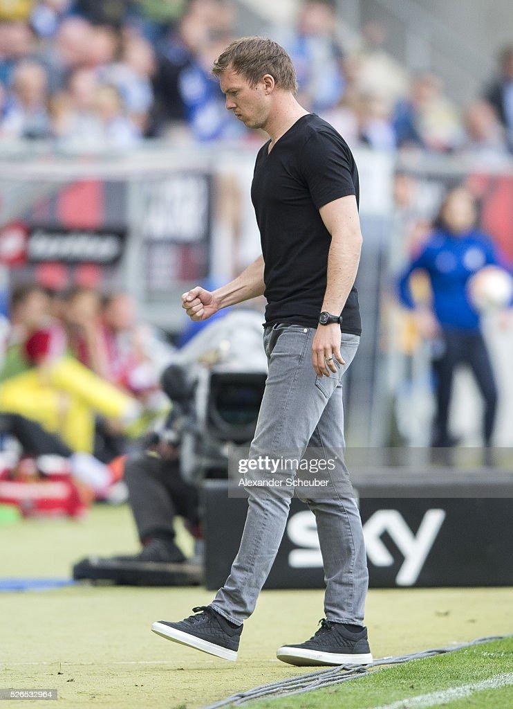 Head coach Julian Nagelsmann of Hoffenheim reacts during the first bundesliga match between 1899 Hoffenheim and FC Ingolstadt at Wirsol Rhein-Neckar-Arena on April 30, 2016 in Sinsheim, Germany.