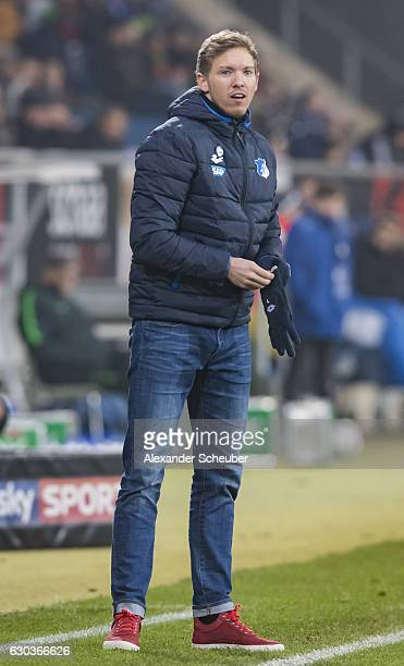 Head coach Julian Nagelsmann of Hoffenheim reacts during the Bundesliga match between TSG 1899 Hoffenheim and Werder Bremen at Wirsol...