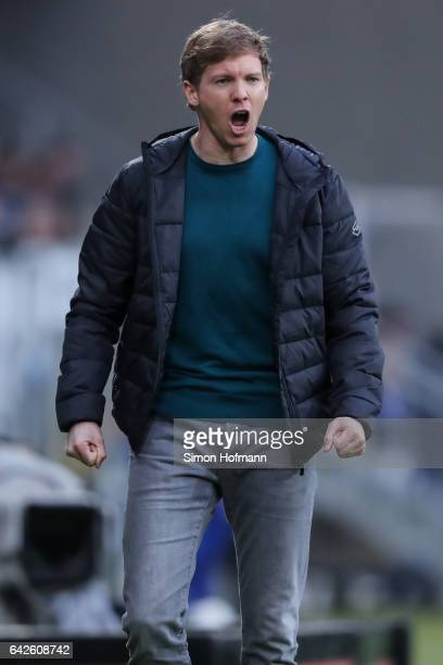 Head coach Julian Nagelsmann of Hoffenheim reacts during the Bundesliga match between TSG 1899 Hoffenheim and SV Darmstadt 98 at Wirsol...