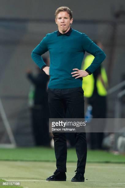 Head coach Julian Nagelsmann of Hoffenheim reacts during the UEFA Europa League group C match between 1899 Hoffenheim and Istanbul Basaksehir FK at...