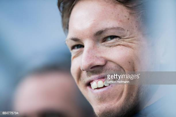Head coach Julian Nagelsmann of Hoffenheim smiles during the Bundesliga match between TSG 1899 Hoffenheim and Bayer 04 Leverkusen at Wirsol...