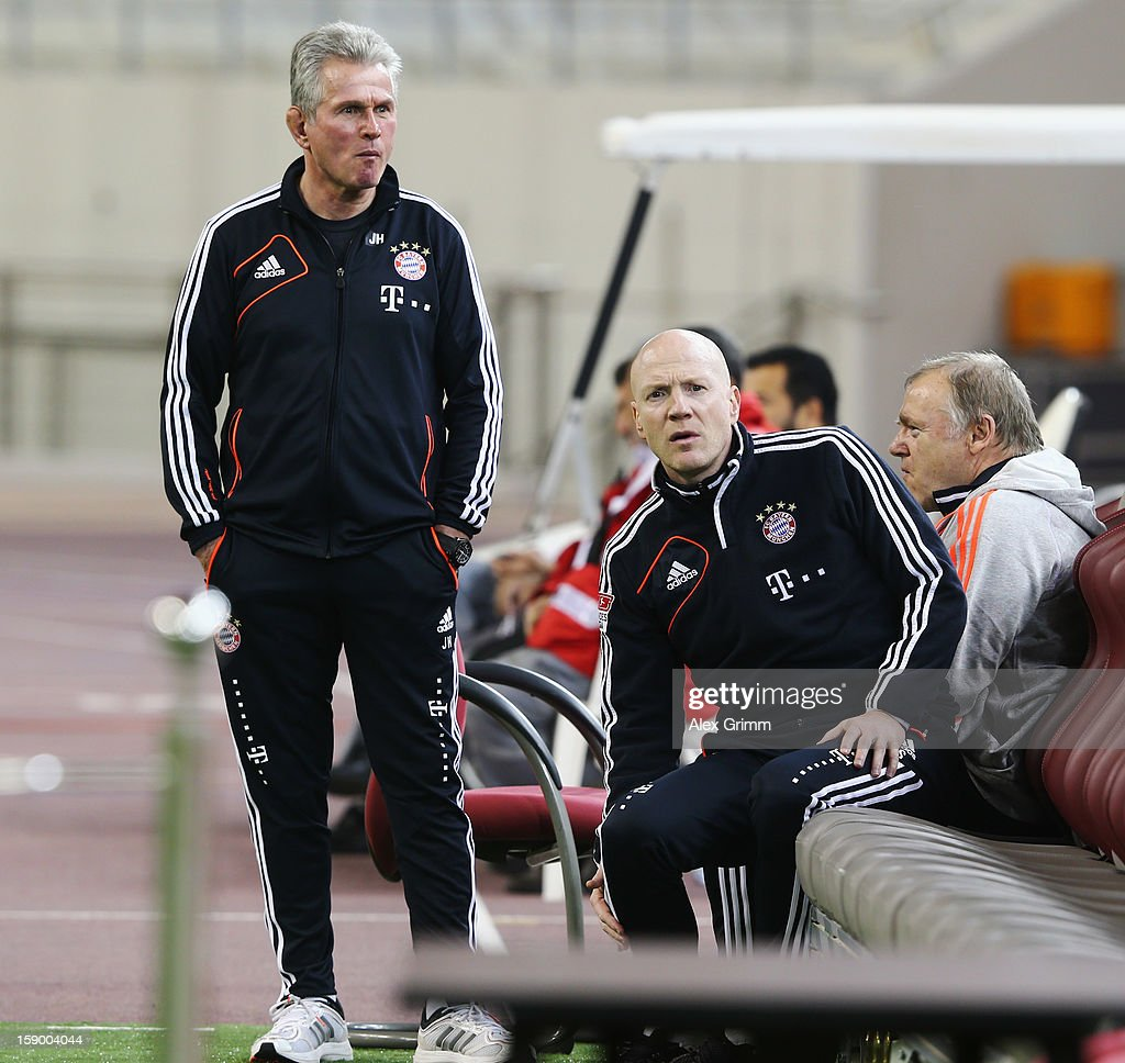 Head coach <a gi-track='captionPersonalityLinkClicked' href=/galleries/search?phrase=Jupp+Heynckes&family=editorial&specificpeople=2062040 ng-click='$event.stopPropagation()'>Jupp Heynckes</a>, <a gi-track='captionPersonalityLinkClicked' href=/galleries/search?phrase=Matthias+Sammer&family=editorial&specificpeople=555228 ng-click='$event.stopPropagation()'>Matthias Sammer</a> and assistant coach <a gi-track='captionPersonalityLinkClicked' href=/galleries/search?phrase=Hermann+Gerland&family=editorial&specificpeople=5501832 ng-click='$event.stopPropagation()'>Hermann Gerland</a> (L-R) look on prior to the international friendly match between Lekhwiya Sports Club and FC Bayern Muenchen at Khalifa International Stadium on January 5, 2013 in Doha, Qatar.