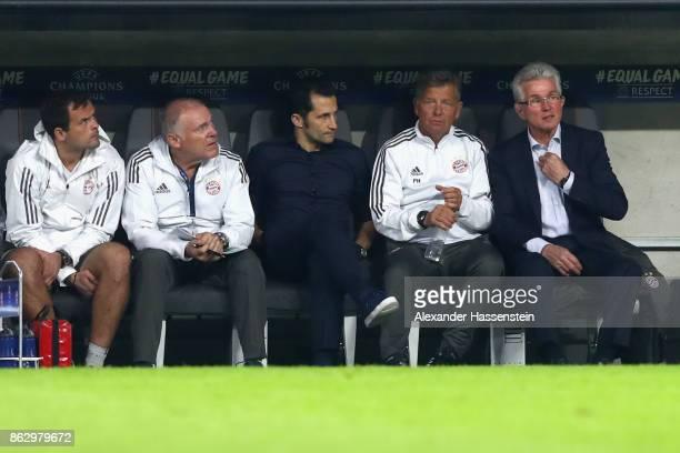 Head coach Jupp Heynckes of Bayern Muenchen sit on the team bench next to his assistent coach Peter Hermann sporting director Hasan Salihamidzic...