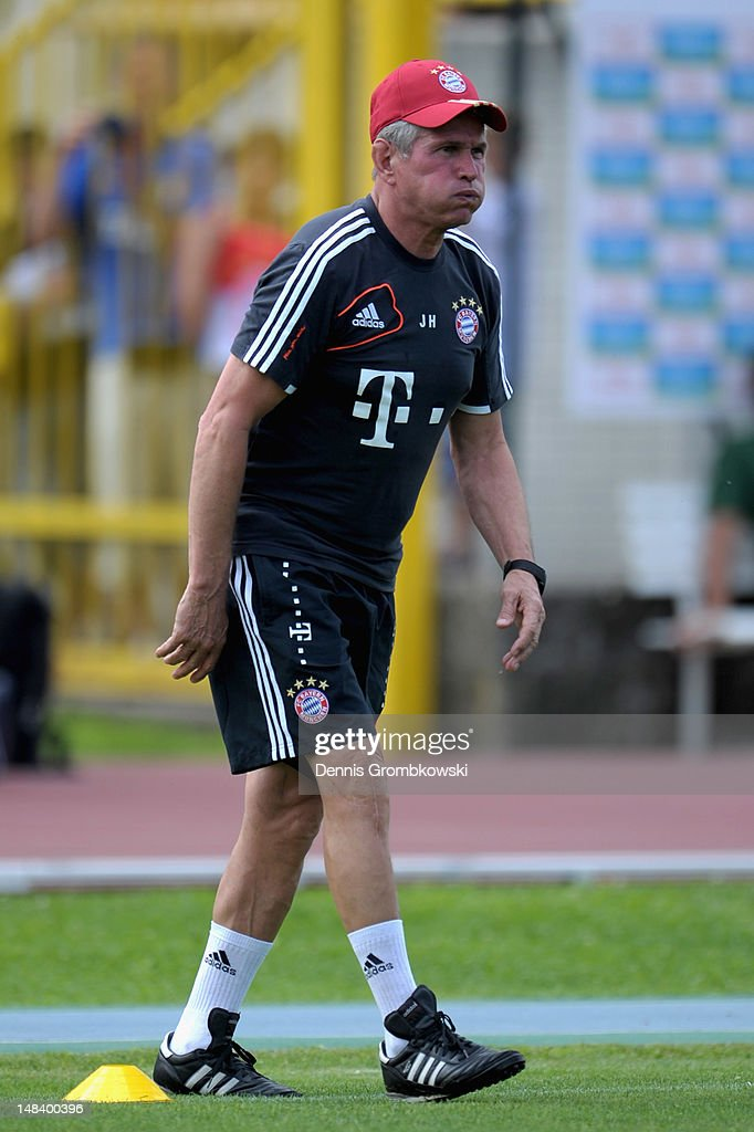 Head coach <a gi-track='captionPersonalityLinkClicked' href=/galleries/search?phrase=Jupp+Heynckes&family=editorial&specificpeople=2062040 ng-click='$event.stopPropagation()'>Jupp Heynckes</a> of Bayern reacts during day one of the Bayern Muenchen pre-season training camp at Arco Stadium on July 15, 2012 in Arco, Italy.