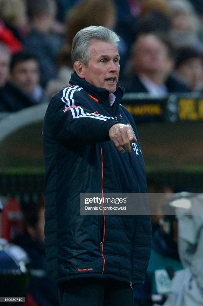 Head coach <a gi-track='captionPersonalityLinkClicked' href=/galleries/search?phrase=Jupp+Heynckes&family=editorial&specificpeople=2062040 ng-click='$event.stopPropagation()'>Jupp Heynckes</a> of Bayern reacts during the Bundesliga match between 1. FSV Mainz 05 and FC Bayern Muenchen at Coface Arena on February 2, 2013 in Mainz, Germany.