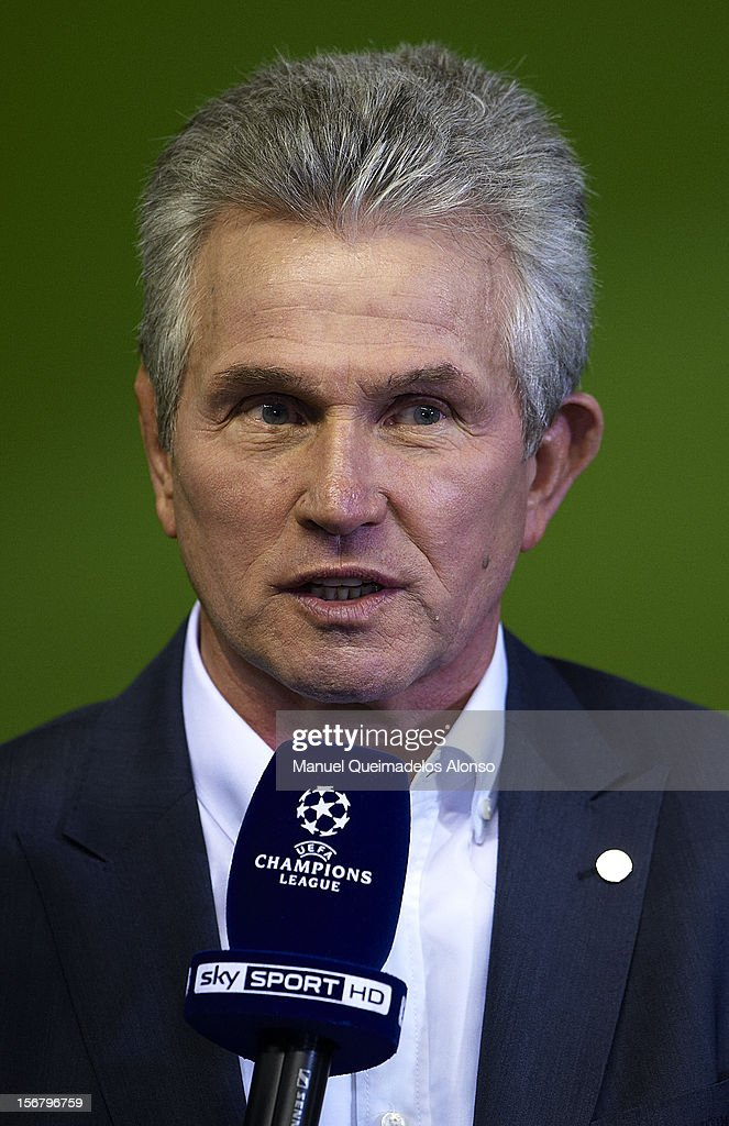 Head coach Jupp Heynckes of FC Bayern Muenchen gives an interview prior to the UEFA Champions League group F match between Valencia CF and FC Bayern Muenchen at Estadio Mestalla on November 20, 2012 in Valencia, Spain.