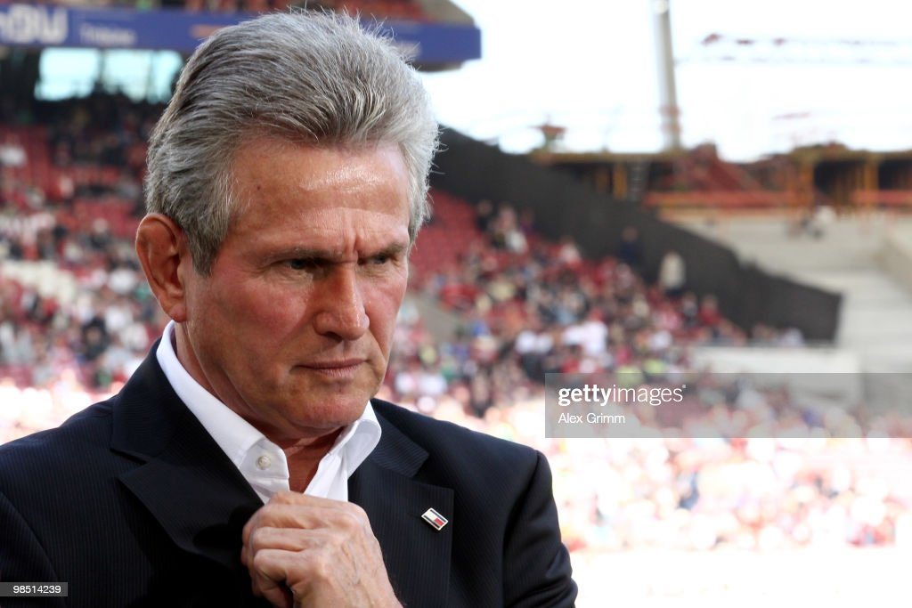 Head coach <a gi-track='captionPersonalityLinkClicked' href=/galleries/search?phrase=Jupp+Heynckes&family=editorial&specificpeople=2062040 ng-click='$event.stopPropagation()'>Jupp Heynckes</a> of Leverkusen reacts before the Bundesliga match between VfB Stuttgart and Bayer Leverkusen at the Mercedes-Benz Arena on April 17, 2010, in Stuttgart, Germany.