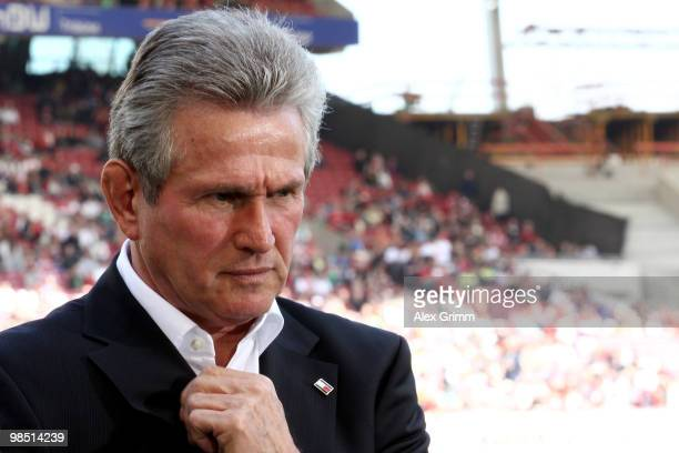 Head coach Jupp Heynckes of Leverkusen reacts before the Bundesliga match between VfB Stuttgart and Bayer Leverkusen at the MercedesBenz Arena on...