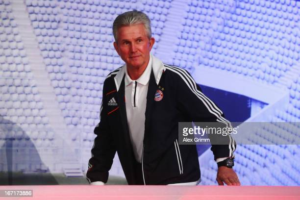 Head coach Jupp Heynckes of Muenchen arrives for a Bayern Muenchen press conference ahead of their UEFA Champions League Semi Final first leg match...