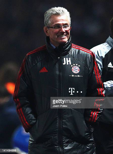 Head coach Jupp Heynckes of Muenchen smile during the Bundesliga match between Hertha BSC Berlin and FC Bayern Muenchen at Olympic Stadium on March...