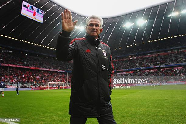 Head coach Jupp Heynckes of Muenchen walks along the pitch prior to the Bundesliga match between FC Bayern Muenchen and FC Schalke 04 at Allianz...