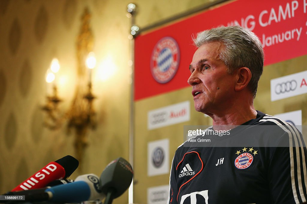 Head coach <a gi-track='captionPersonalityLinkClicked' href=/galleries/search?phrase=Jupp+Heynckes&family=editorial&specificpeople=2062040 ng-click='$event.stopPropagation()'>Jupp Heynckes</a> talks to the media during a Bayern Muenchen press conference at Grand Heritage Hotel on January 3, 2013 in Doha, Qatar.