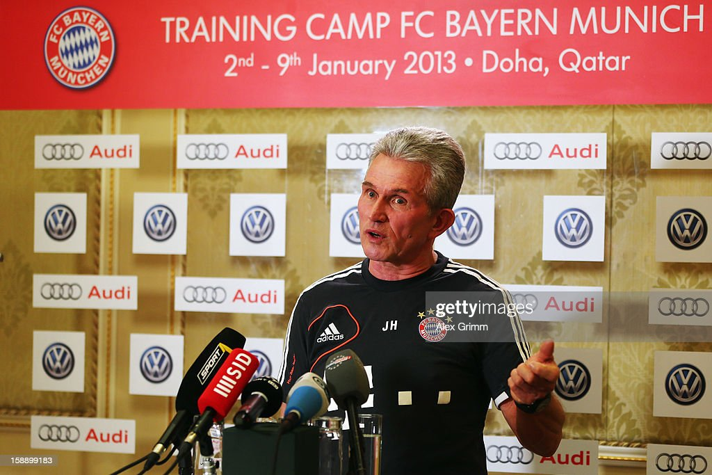 Head coach Jupp Heynckes talks to the media during a Bayern Muenchen press conference at Grand Heritage Hotel on January 3, 2013 in Doha, Qatar.