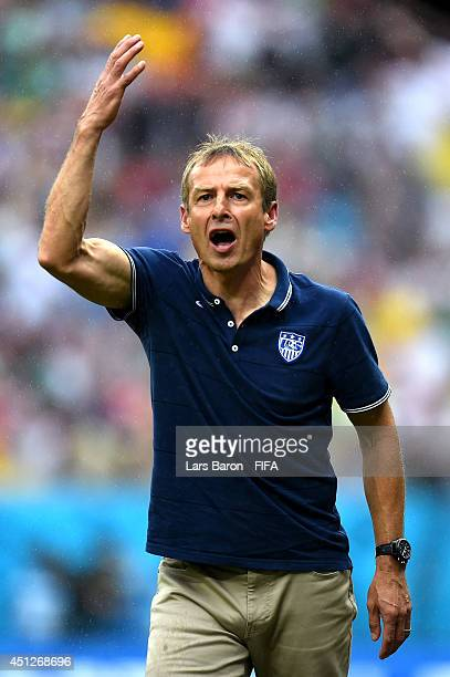 Head coach Jurgen Klinsmann of the United States gestures during the 2014 FIFA World Cup Brazil Group G match between USA and Germany at Arena...