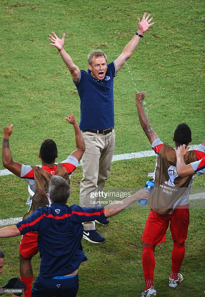 Head coach <a gi-track='captionPersonalityLinkClicked' href=/galleries/search?phrase=Jurgen+Klinsmann&family=editorial&specificpeople=228023 ng-click='$event.stopPropagation()'>Jurgen Klinsmann</a> of the United States reacts after defeating Ghana 2-1 during the 2014 FIFA World Cup Brazil Group G match between Ghana and the United States at Estadio das Dunas on June 16, 2014 in Natal, Brazil.