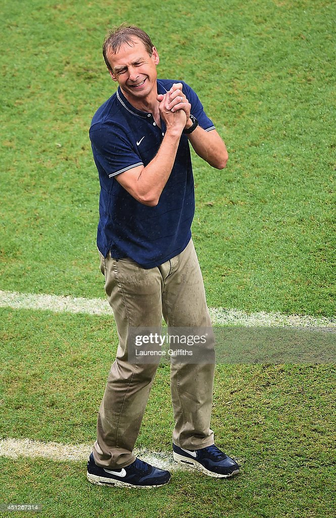 Head coach <a gi-track='captionPersonalityLinkClicked' href=/galleries/search?phrase=Jurgen+Klinsmann&family=editorial&specificpeople=228023 ng-click='$event.stopPropagation()'>Jurgen Klinsmann</a> of the United States reacts during the 2014 FIFA World Cup Brazil group G match between the United States and Germany at Arena Pernambuco on June 26, 2014 in Recife, Brazil.
